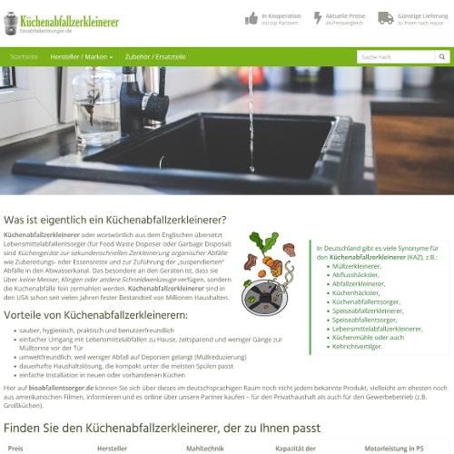 Screenshot bioabfallentsorger.de Küchenabfallzerkleinerer
