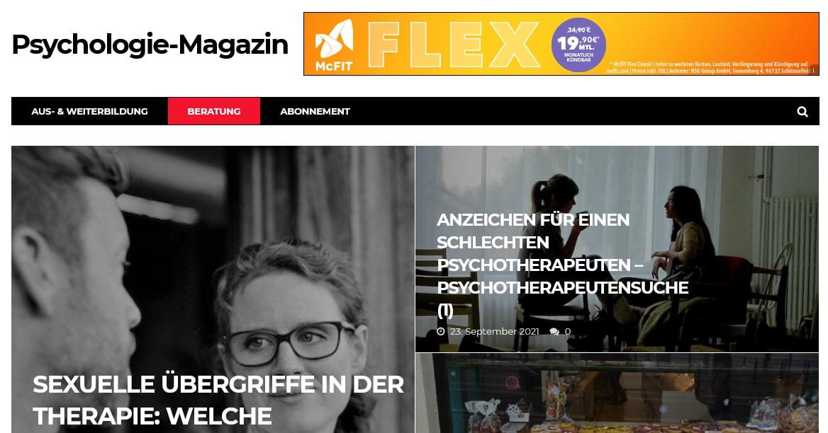 Screenshot psymag.de Psychologie Online-Magazin
