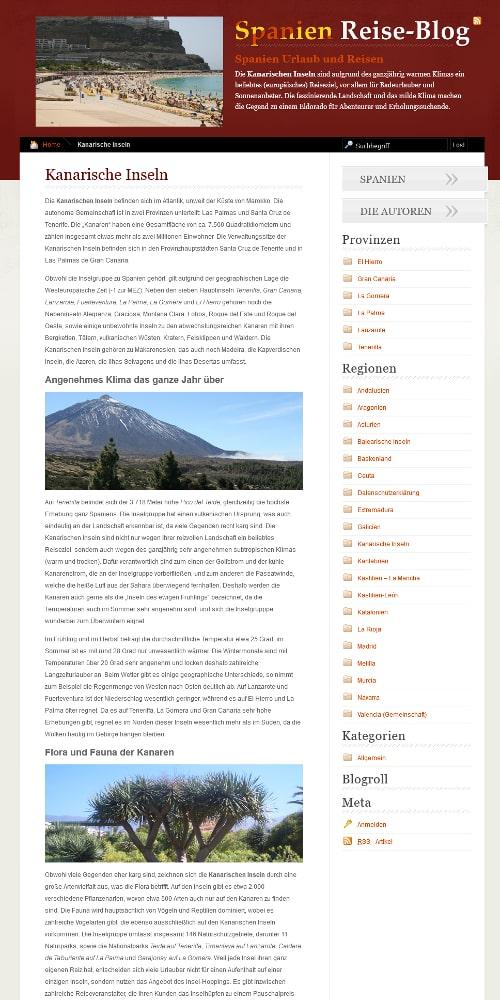 Screenshot spanien-reiseblog.de Spanien Reise-Blog